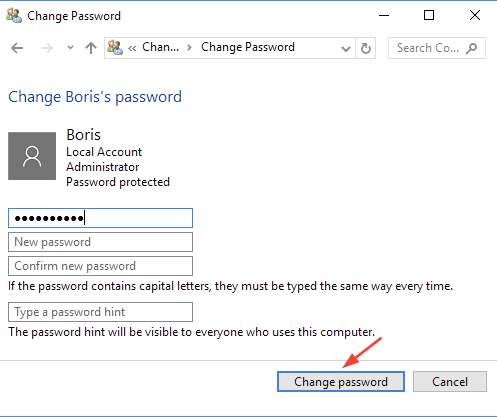 windows 10 change password dialogue box