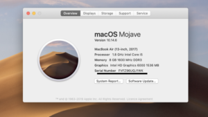 MacOS specs model number