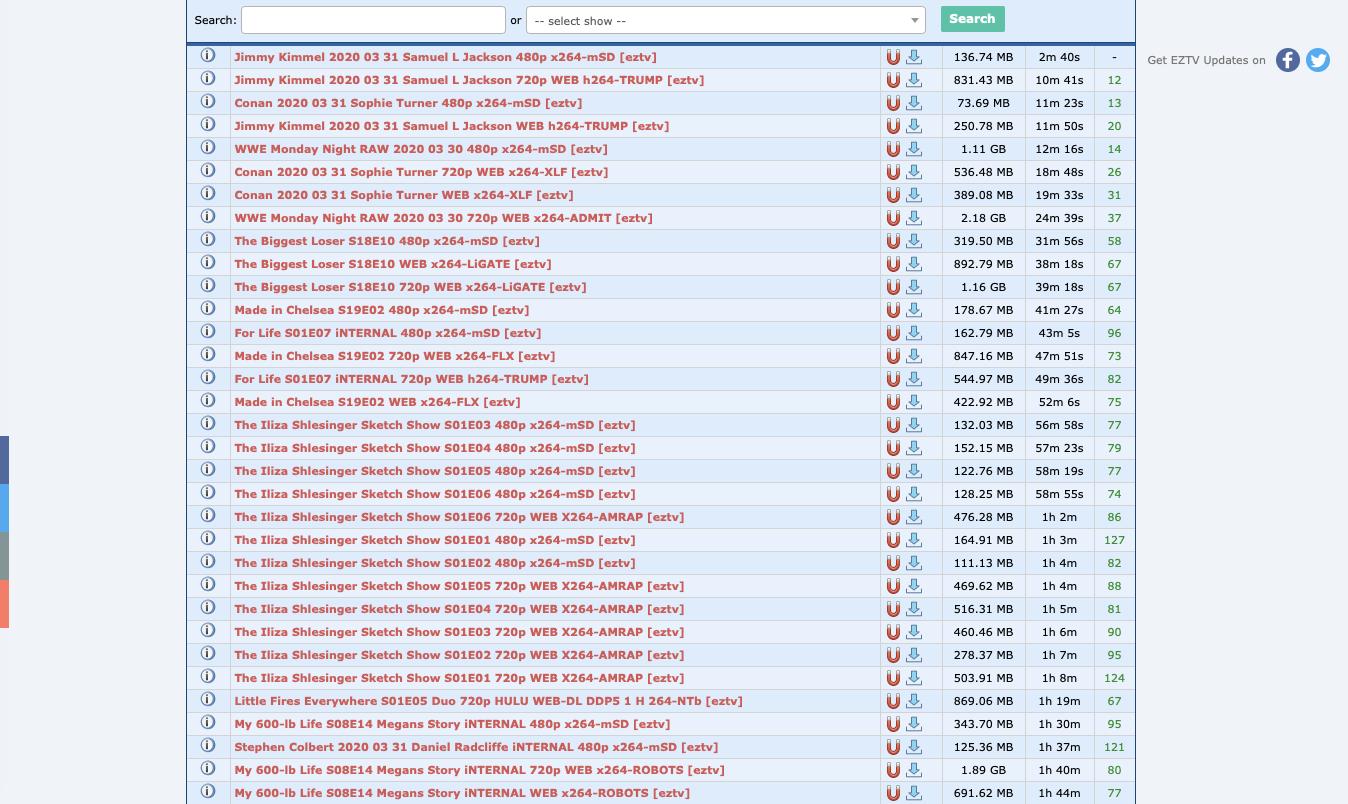 EZTV's proxy list