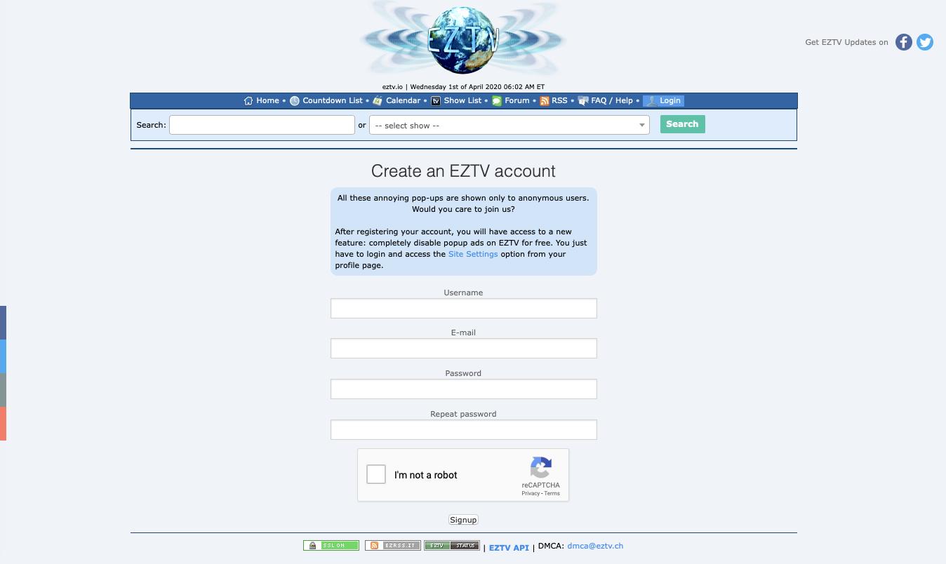 EZTV's registration