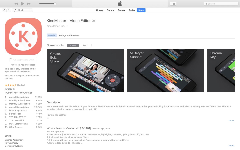 Kinemaster on iTunes Store