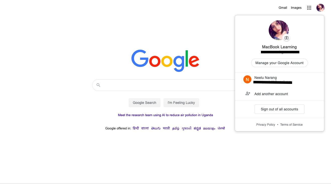 how to change default google account 2020 in Macbook